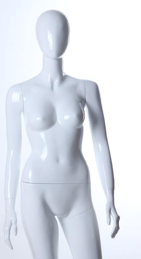 Female Fiberglass Glossy White LS7 Egghead Mannequin