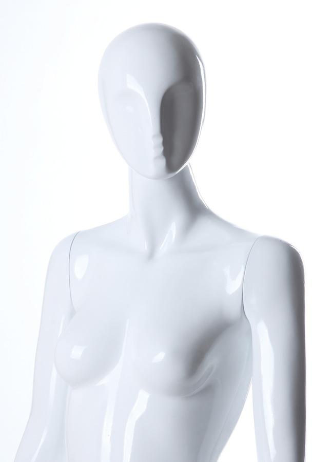 Female Fiberglass Glossy LGL3 Mannequin White -Black