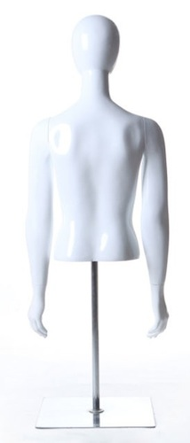 FEMALE EGGHEAD DRESS FORM TORSO WHITE GLOSS DBL5