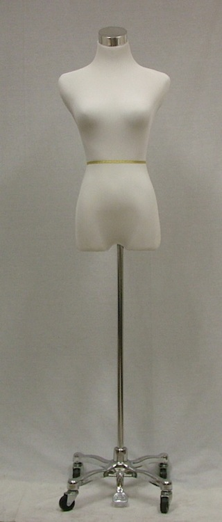 Female White Mannequin Dress Form Steel Rolling Tripod Base