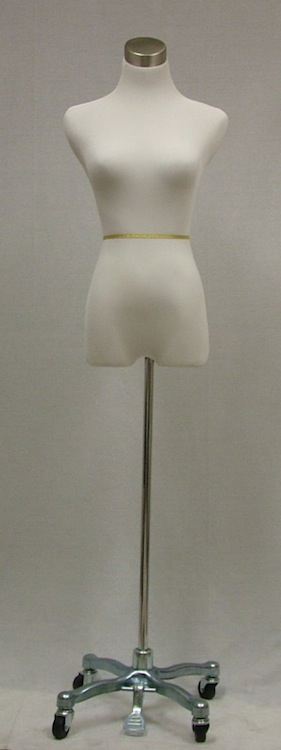 Female White Mannequin Dress Form Steel Rolling Tripod Base