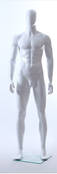 MALE MANNEQUIN EGGHEAD GLOSS WHITE GM23E