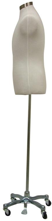 Male White Mannequin Dress Form Steel Rolling Tripod Base