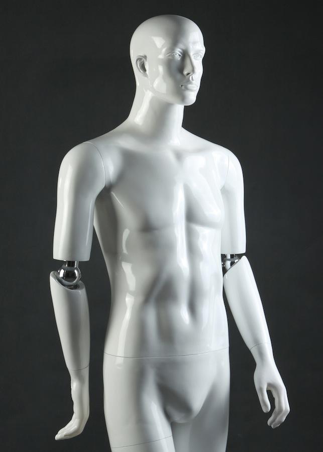 Flexible Arms Male White Mannequin Form PGL13